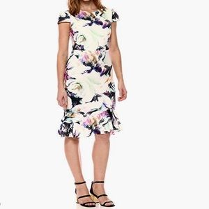 Betsey Johnson Floral Scuba Dress with Ruffle Hem